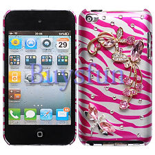 Bling Pink Butterfly Zebra Style Hard Cover Case For iPod Touch 4 4G 4TH