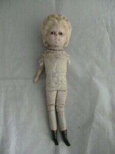 Antique wax over composition 'Pumpkin head' doll for spares / repairs