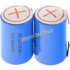 2 pezzi 4/5 subc Sub Cell C 2800mAh 1.2V Ni-MH ricaricabili blu con Tab