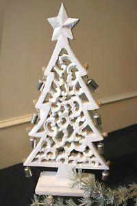 Clayre & Eef Weihnachtdekoration Christmas Tree Wooden White Bells 60cm New