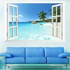 Palm Beach resort 3D Window View Wall Sticker Art PVC Decal Room Decor Mural