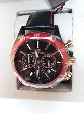 Western momenti Quadrante nero lunetta rossa Orologio con Cinturino in Pelle Nera, Prezzo Consigliato £ 399!