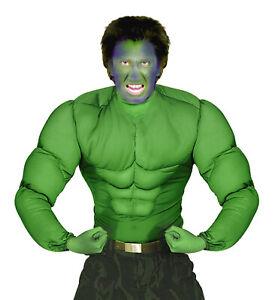 Hulk muskulöser Oberkörper Herren-Kostüm Sixpack Muskeln Muckies Fatsuit Zubehör