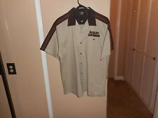 Harley Davidson Beige Colorblocked Winged Button Front Garage Shop Shirt XL Mint