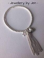 Handmade Bracelet Silver Plated Tassel, heart & star Beaded Stacking