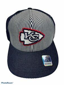 VINTAGE KANSAS CITY CHIEFS NFL REEBOK 7 3/8 FITTED CAP HAT NEW! BLUE