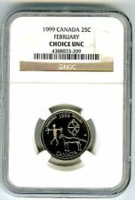 1999 CANADA 25 CENT NGC CHOICE UNC FEBRUARY - ETCHED IN STONE - QUARTER RARE