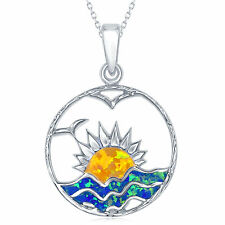 """Sterling Silver Blue Inlay Opal Sunset Pendant on a 18"""" Chain"""