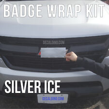 Silver Ice Truck Emblem Wrap Kit - For Chevy Silverado Colored Bowtie Badge 3m