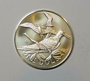 BRITISH VIRGIN ISLANDS SILVER  ONE DOLLAR 1973. UNC. FRIGATE BIRD