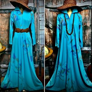 Vintage Mod Long Maxi Boho Floral Gown Sweep Festival Novelty Lounge Dress S M