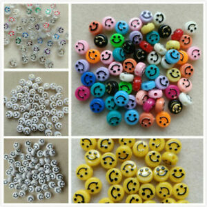 50 - 100 Emoji Smiley Face 10x6mm 15 Colours Yellow Jewellery Crafting UK Seller