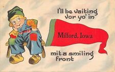 """Waiting for you in"" Milford Iowa~I'll Have Smiling Front~1916 Pennant Postcard"