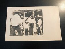 RPPC Photo Postcard--Little Boy Standing Crowd of Men Wearing Sombreros ?Mexico