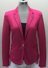 Zara Women Hot Pink Blazer 1 Button Lined XS Cotton
