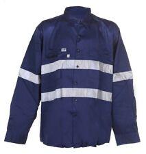WORKSENSE Cotton Drill Shirts XS Long Sleeve 3M Reflective Tape Blue Work Safety