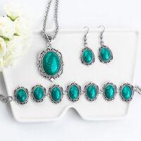 New Stylish Retro Jewelry Set Turquoise Pendant Thai Silver Bracelet Earring Hot