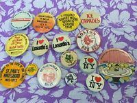 Vintage 70s 80s Badge Pin Lot of 16 Whitesboro NY Boston Red Sox Montgomery Ward