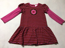 Hanna Andersson 120 6 7 Pink Red Brown Stripe Flower Wheel Dress