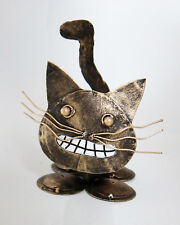 GRINNING CAT shaped ornament, antique gold painted recycled steel 16 cm high new