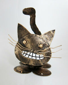 GRINNING CAT shaped ornament, antique gold painted recycled steel 14 cm high new