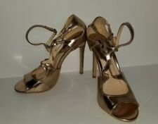 Forever 21 Womans High Heels Shoes Gold Metallic Size 8