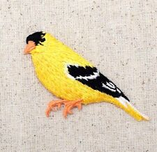 Iron On/Embroidered Applique/Patch Red Facing Left Goldfinch Yellow Finch Bird