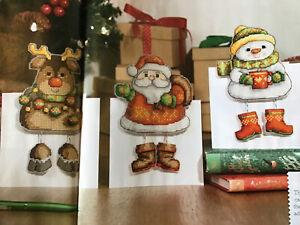 (XN) 3D Cards Reindeer Santa Claus Angel Snowman Christmas Cross Stitch Chart