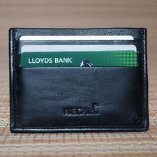 Real Leather ID Credit Card Holder Wallet Slim Pocket Case Cardholder Black