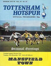 Football Programme>TOTTENHAM HOTSPUR v MANSFIELD TOWN Dec 1977