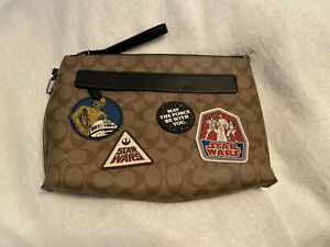NWT Star Wars X Coach F88114 Carryall Pouch In Signature Canvas Patches-Khaki