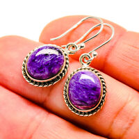 "Charoite 925 Sterling Silver Earrings 1 1/4"" Ana Co Jewelry E411403F"