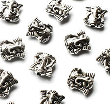 25 x Elephant Animal Spacer Beads Charms 10mm Silver tone, Craft, Buddha Ethnic