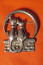 CAT LOVERS UNDER THE FULL MOON PIN MEXICO SILVER 925