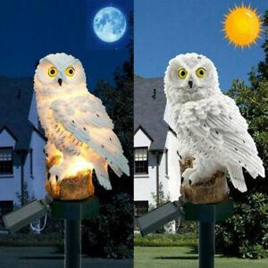 LED Owl Statue Lamp Solar Powered Garden Light Outdoor Ornament Lawn Waterproof