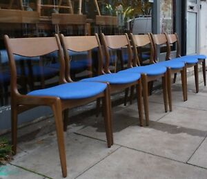6x vintage 1960s Danish African Teakwood dining chair with blue cloth seat-pads