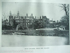 ANTIQUE PRINT C1910 ETON COLLEGE FROM THE THAMES OLD PHOTO PRINT VINTAGE WINDSOR