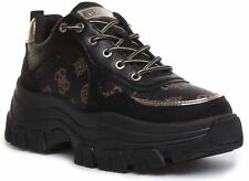 Guess Fl8Bryfal12 Barty Active Platform Trainer EX DISPLAY In Black Size UK 6