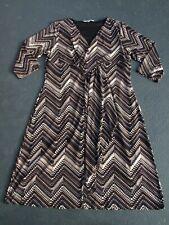 FLETCHER JONES DRESS SIZE 16 WORN ONCE STRETCH FAUX WRAP W/ RUFFLE