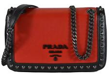 New Prada 1BD147 Red Black Colorblock Glace Leather Studded Crossbody Purse
