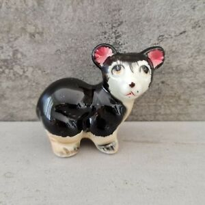Vintage Pottery Figurine Cute Bear Cub Big Eyes Black White Pink Ears Kitsch 60s