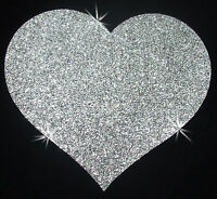 4inch HEART FABRIC material GLITTER A SILVER iron-on t-shirt TRANSFER PATCH