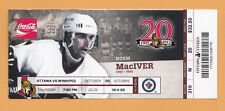 OTTAWA SENATORS VS WINNIPEG JETS FULL TICKET STUB NORM MACIVER 10/20/11