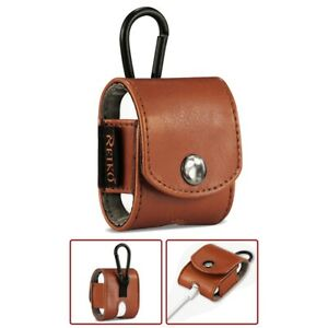 For AirPods Pouch Case Charging Earphone Leather Cover Skin Carabiner Clip Brown