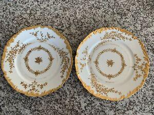 2 T&V LIMOGES FRANCE HAND PAINTED  GOLD 9.5 DINNER PLATE OVINGTON BROS NY
