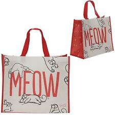 Simons Cat Meow Large Reusable Womens Foldable Ladies Shopping Hand Tote Bag