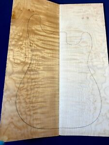 #309 Quilted Maple Drop Top Luthier Tonewood Figured Bookmatched Set