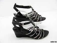 FRANCO SARTO Women Black Silver Leather Twist Braid Gladiator Sandal Shoe 8M #Y6
