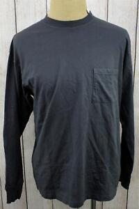 New Cotton On Front Pocket Dark Gray Crew Long Sleeve T-Shirt Medium JA1