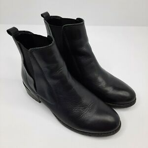 Novo Womens Elastic Side Leather Ankle Boots Size 7 Titinia Black Low Block Heel